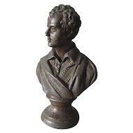Antique c1880s Bust, Sculpture of Poet Robert Burns, Scottish Writer