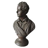 Antique c1880s Bust, Sculpture of Poet Robert Burns, Scottish Writer