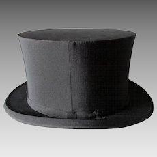 Antique c1900s Gentleman's Folding Top Hat, Millinery, Victorian Fashion