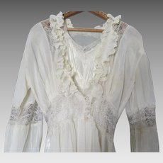 Circa 1930s Art Deco Silk, Rayon Lace Wedding Lingerie Set Nightgown & Robe