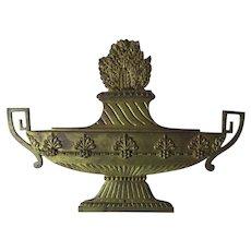 Antique Gilt Bronze Urn Architectural Element, Decorative Plaque