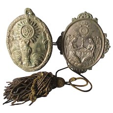 2 French Christian Medallions with Angels, IHS, Gold Boulle Tassel