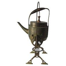 Antique Art Nouveau, Jugendstil Tea Kettle on Stand, Great Design