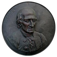 Antique Brass Charger, Plaque of French Writer Voltaire