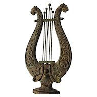 Nice Antique Architectural Finial, Lyre with Lion, Gargoyles