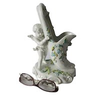 Antique Cherub Angel with Slipper, Sitzendorf Porcelain Figurine