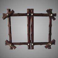 Antique 19thC Folk Art Hand Carved Folding Picture Frame