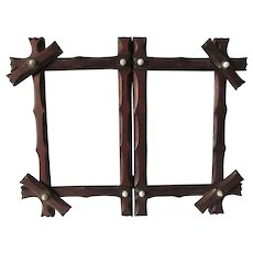 Antique 19thC Folk Art Hand Carved Folding Picture Frame