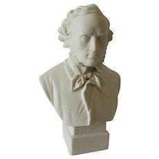 19thC  Parian Porcelain Bust German Composer Mendelssohn, Robinson & Leadbeater
