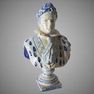 French Faience, Art Pottery Bust of Napoleon Bonaparte
