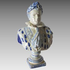 French Faience, Art Pottery Bust of Napoleon Bonaparte