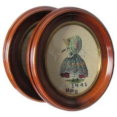 Pair Lovely c1860s Oval Deep Walnut Oval Picture Frames, Old Glass