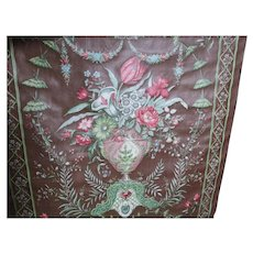 Beautiful Victorian Oilcloth Fabric with Flower Filler Urn Motif, 7 1/2 Yards