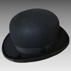 Gentlemans Art Deco Bowler Hat, Very Good Condition Size 7 1/8