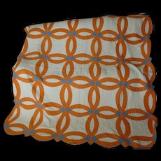 Art Deco Wedding Ring Quilt, Hand Sewn & Quilted, VG Condition