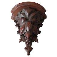 Antique German Black Forest Hand Carved Shelf with Grape Vine Motif
