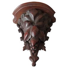 Antique German Black Forest Hand Carved Shelf with Grape Vine Motif