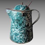 Rare Green Graniteware Emerald Ware Chrysolite Camp Fire Coffee Pot