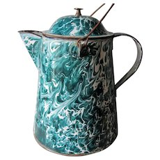 Rare Green Graniteware Emerald Ware Chrysolite Camp Fire Coffee Pot