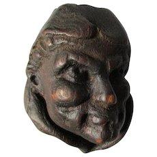Antique Arts & Crafts Hand Carved Monk or Friar Match Safe