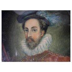 Antique Hand Painted Miniature Portrait of Robert Cecil, 1st Earl of Salisbury