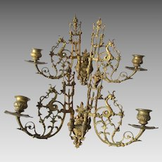 Nice Pair Antique Victorian Candles Scones with Gargoyles, Griffins