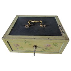 Antique Metal Strongbox, Cash Box or Safe with Original Lock & Key