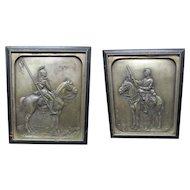 Nice Pair of Antique Military Plaques, Soldiers on Horseback  Tahanto Co.