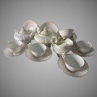 Antique c1870s Childrens, Dolls Tea Set, Polka Dot Design, Complete