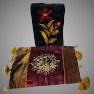 c1880s Victorian Velvet & Silk Textiles, Book Cover & Vanity Scarf
