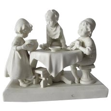Charming Antique Parian Porcelain Figurine of Children at Kitchen Table