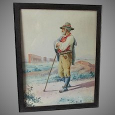 Antique European Watercolor Painting of a Gentleman Viewing Ruins