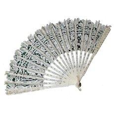 Antique European Hand Made Lace Ladies Fan, Fashion Accessory