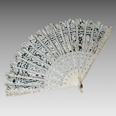 Antique European Hand Made Lace Ladies Fan, Fashion Accessory