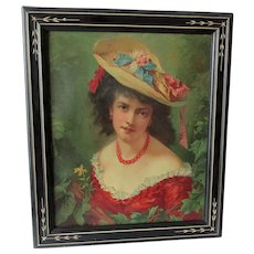 Beautiful Antique c1890s Print of a Lovely Lady in a fancy Hat