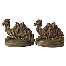 Egyptian Revival Cast Iron Camel Bookends, Desk or Office Accessory