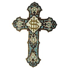 Antique French Champleve Enamel Cross, Crucifix, Christianity