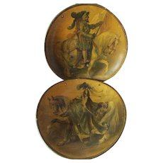 Antique Paper Mache Chargers with Renaissance King & Queen, Pre-Raphaelite