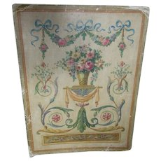 Pretty c1925 Oil Painting, French Flower Urn & Ribbons