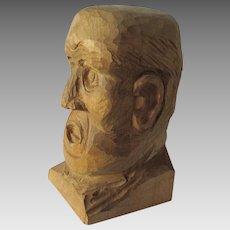 Vintage Folk Art Hand Carved Bust of a Man