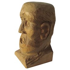 Vintage Folk Art Hand Carved Bust of a Man