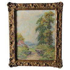 Pretty Vintage Impressionistic Oil Painting of a Cottage, Signed Street