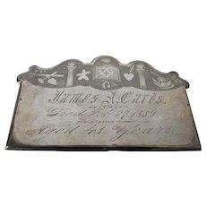 Antique c1889 Masonic Casket Plate, Mourning, Fraternal