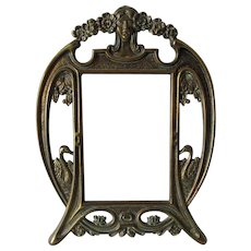 Antique Nouveau Picture, Mirror Frame with Lovely Lady & Swans
