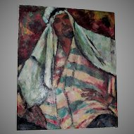 Vintage Impressionistic Oil Painting of a Middle Eastern Gentleman, Signed