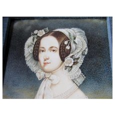 Fine 19thC Antique Miniature Painting of a Beautiful Woman, Original Watercolor