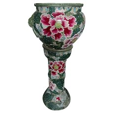 Asian, Japanese Satsuma Jardiniere and Pedestal