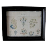 Antique 19thC English Pictorial Sampler with Lion & Birds