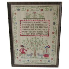 Vintage c1930 Sampler Friendships a Name to Few Confined