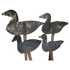 4 Old Primitive Tin Duck Silhouettes, Working Decoys, Hunting, Sports